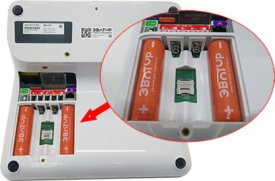 Установка батареек и SIM карты в ЭВОТОР 10
